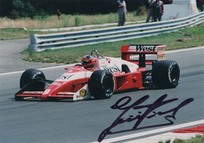 Piercarlo Ghinzani, Zakspeed F1, signed 7x5 inch photo.